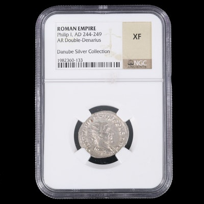NGC Graded XF Ancient Roman AR Antoninianus Coin of Philip I, 244-249 AD
