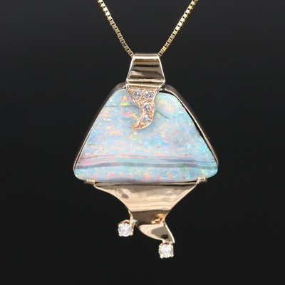 14K Boulder Opal and Diamond Necklace