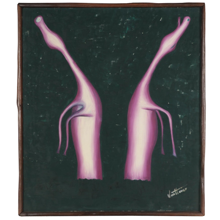 John van Hover Surreal Oil Painting, Late 20th Century