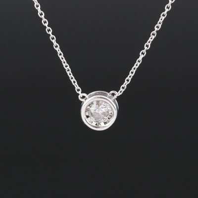 14K 0.20 CT Diamond Illusion Set Pendant Necklace