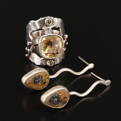 Charles Albert Druzy Earrings with Fine Silver Tourmaline and Citrine Ring