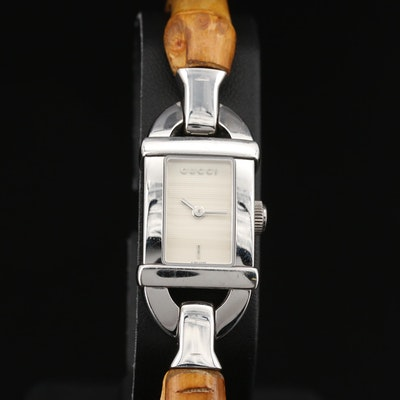 Gucci 6800L Bamboo and Stainless Steel Quartz Wristwatch