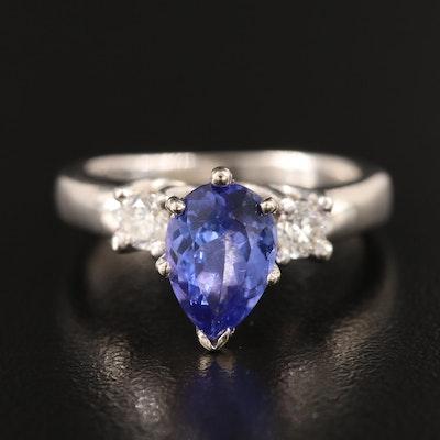 14K 1.53 CT Tanzanite and Diamond Ring with Platinum Center