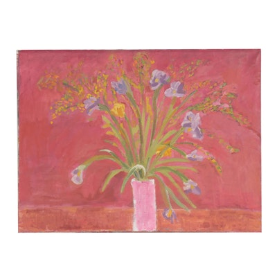 Jerald Mironov Large-Scale Abstract Oil Painting of Vase of Flowers