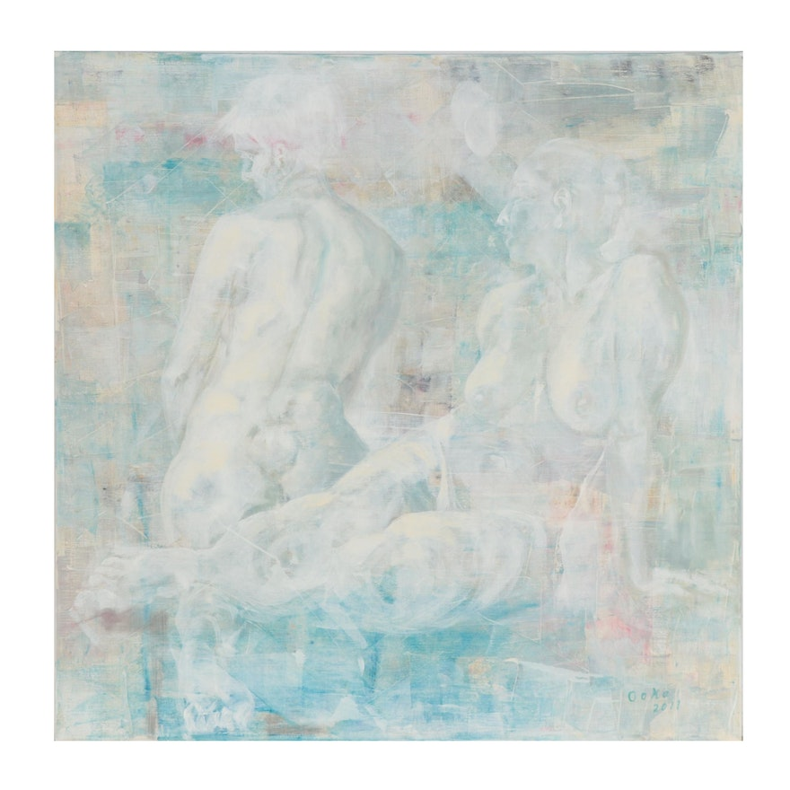"""Kaz Ooka Abstract Figurative Oil Painting """"Duo #2,"""" 2011"""
