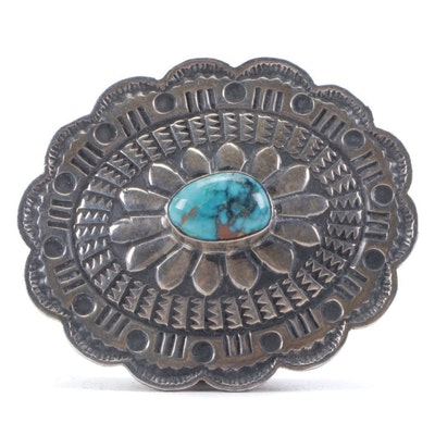 Sunshine Reeves, Navajo Dine Sterling Silver and Turquoise Pillbox