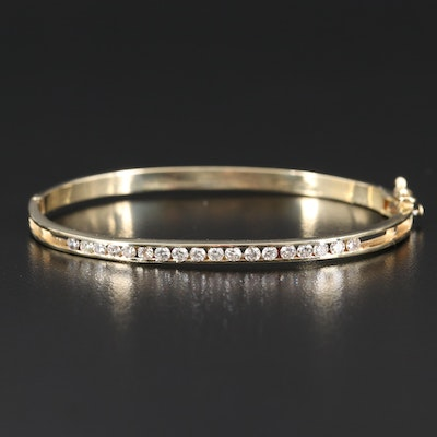 14K 1.00 CTW Diamond Channel Hinged Bangle