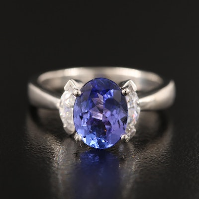 Platinum 1.80 CT Tanzantie and Diamond Ring