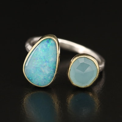 Sterling Opal and Beryl Open Ring with 18K Accent