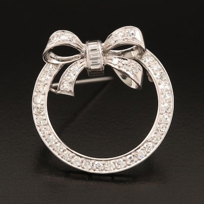Circa 1940 Platinum and 14K 1.48 CTW Diamond Bow Brooch