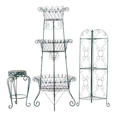 Green Painted Three-Tier Wire Plant Stand and Other Metal Plant Stands