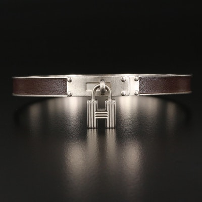 "Hermès ""Kelly H Lock"" Leather Bangle"