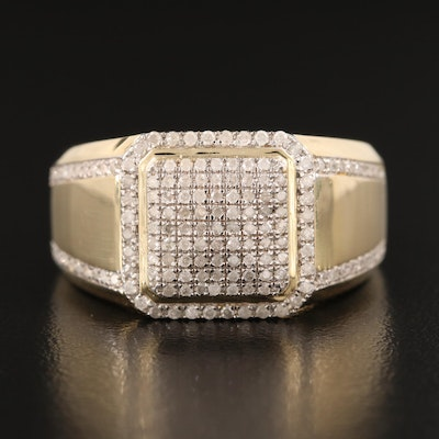 10K Diamond Grid Ring