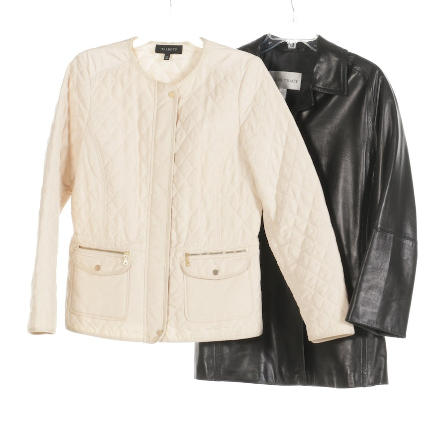 Ellen Tracy Black Leather Jacket with Talbots Ivory Quilted Jacket