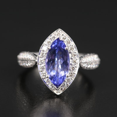 Platinum 1.78 CT Tanzanite and 1.00 CTW Diamond Navette Ring