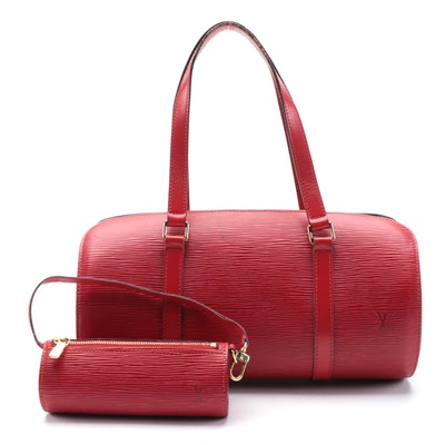 Louis Vuitton Soufflot Bag With Pochette in Castilian Red Epi and Smooth Leather