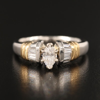 Platinum Diamond Ring with 18K Accents