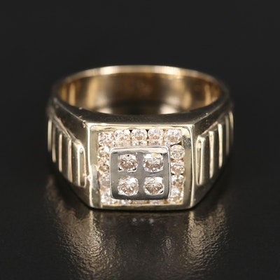 14K Diamond Square Halo Ring