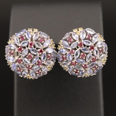 Sterling Tanzanite, Rhodolite Garnet and Sapphire Floral Cluster Button Earrings