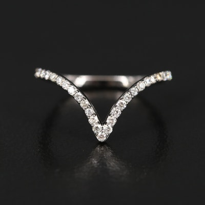 14K Diamond Chevron Band