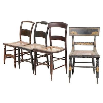 Ebonized Wood Chairs with Cane Seats, Early 19th Century