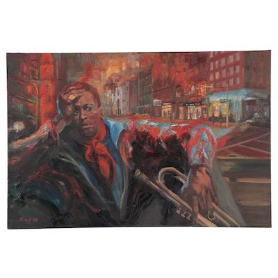 "Kaz Ooka Figurative Oil Painting ""Miles in Harlem,"" 2008"