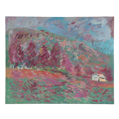 Jerald Mironov Large-Scale Abstract Landscape Oil Painting, Late 20th Century