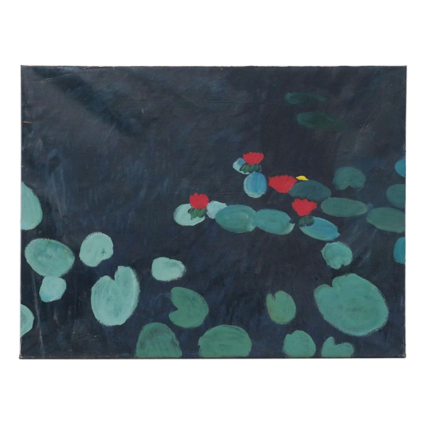 Jerald Mironov Oil Painting of Lily Pads, Late 20th Century