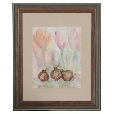 Judy Whittaker Watercolor Painting of Flower Bulbs, 21st Century
