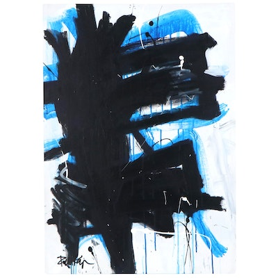 "Robbie Kemper Acrylic Painting ""Blue Black Runs"""