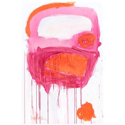 """Robbie Kemper Acrylic Painting """"Pink Magenta Loops"""""""