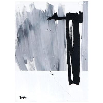"Robbie Kemper Acrylic Painting ""Grey Blend Black White"""