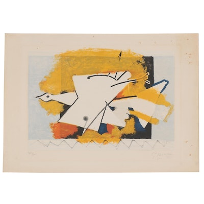 "Georges Braque Lithograph ""L'oiseau Jaune (The Yellow Bird)"""