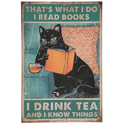 Giclée of Black Cat Reading a Book and Drinking Tea, 21st Century