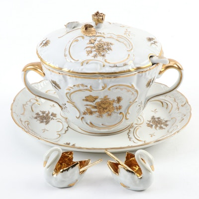 Limoges Swan Salt Cellars with Gilt Porcelain Sauce Tureen
