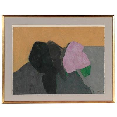 Leon Goldin Abstract Acrylic Painting, 1975