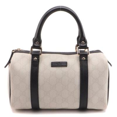 Gucci Joy Boston Bag in White GG Supreme Canvas and Black Leather