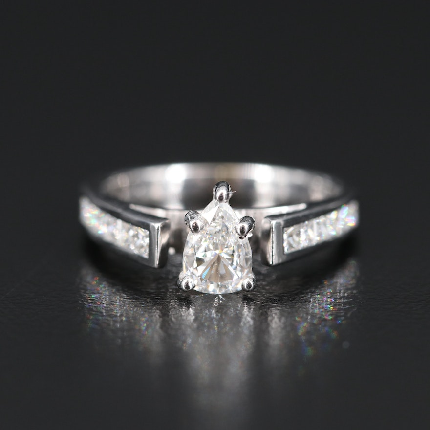 18K Diamond Cathedral Ring with Channel Shoulders