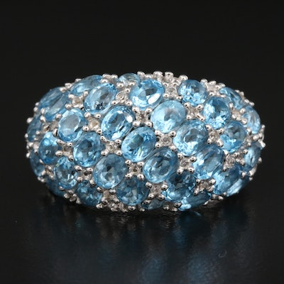Sterling Blue and White Topaz Domed Ring