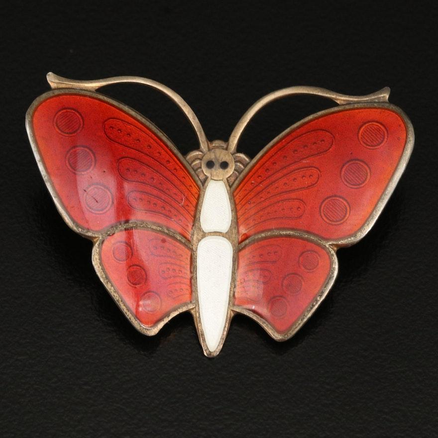 Vintage Norwegian Askel Holmsen Sterling Guilloché Butterfly Brooch