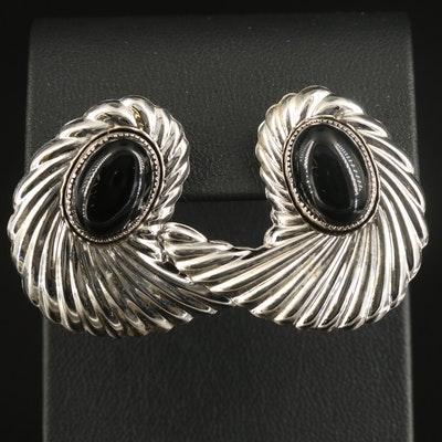 Sterling Black Onyx Fluted Earrings