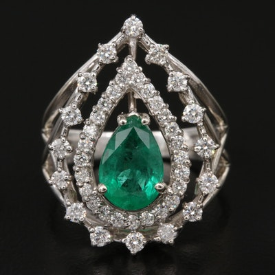 14K 1.26 CT Emerald and Diamond Openwork Ring