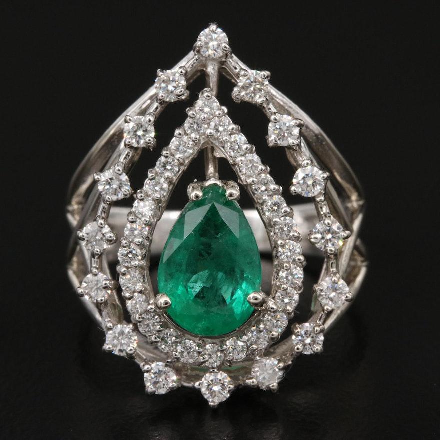 14K 1.26 CT Emerald and Diamond Openwork Ring