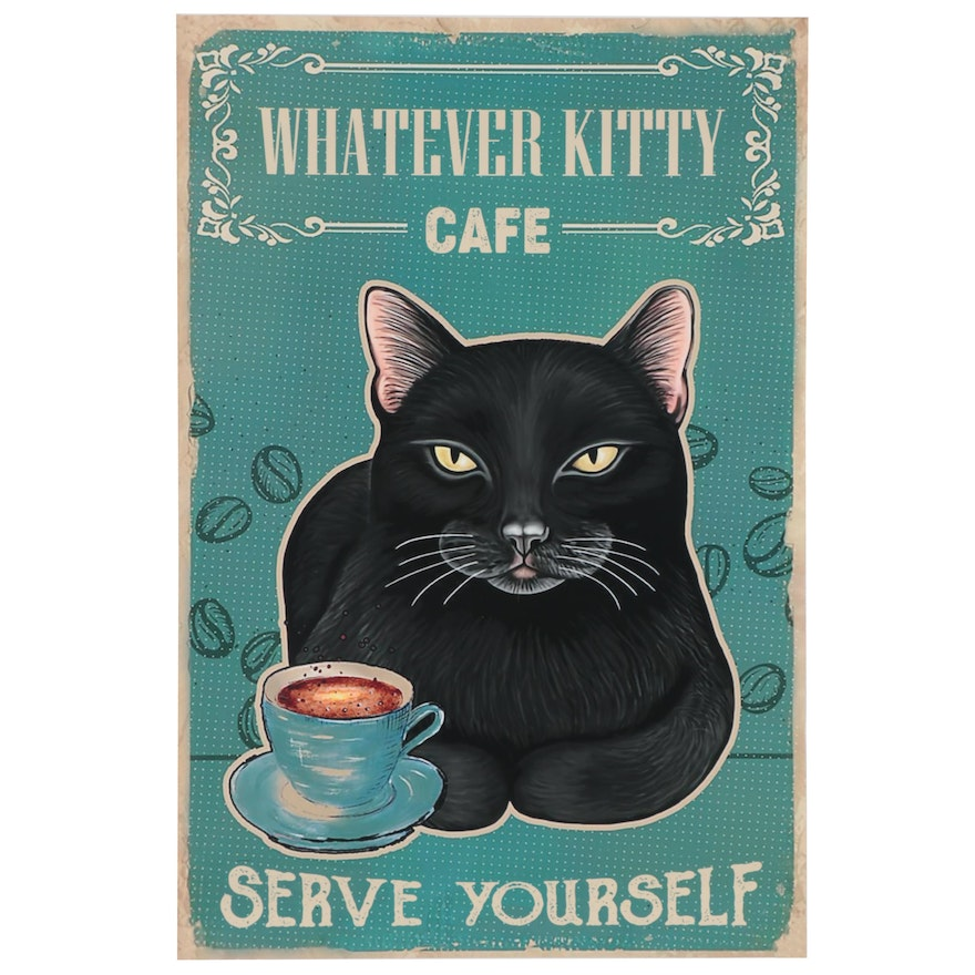 "Contemporary Giclée ""Whatever Kitty Cafe,"" 21st Century"