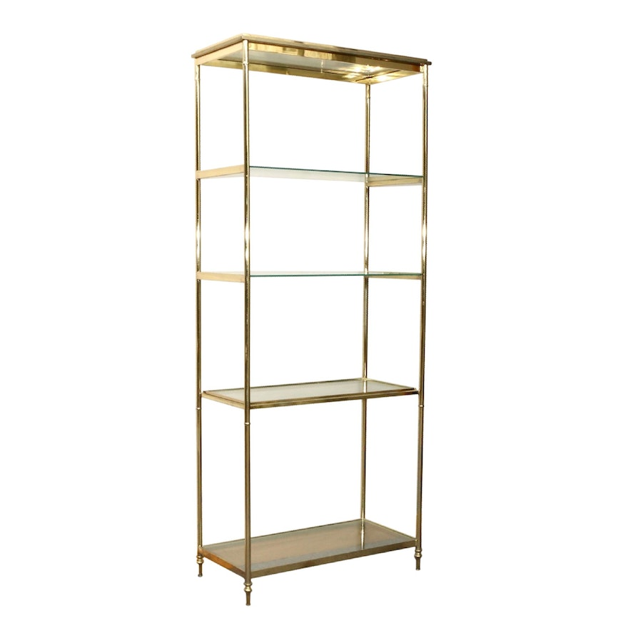 Brass and Glass Four-Shelf Étagère, Mid to Late 20th Century