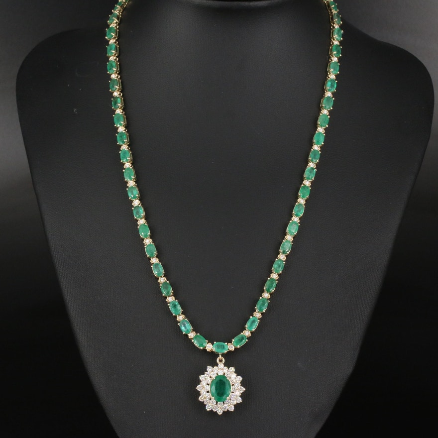 14K Emerald and 2.74 CTW Diamond Necklace with 2.35 CT Center