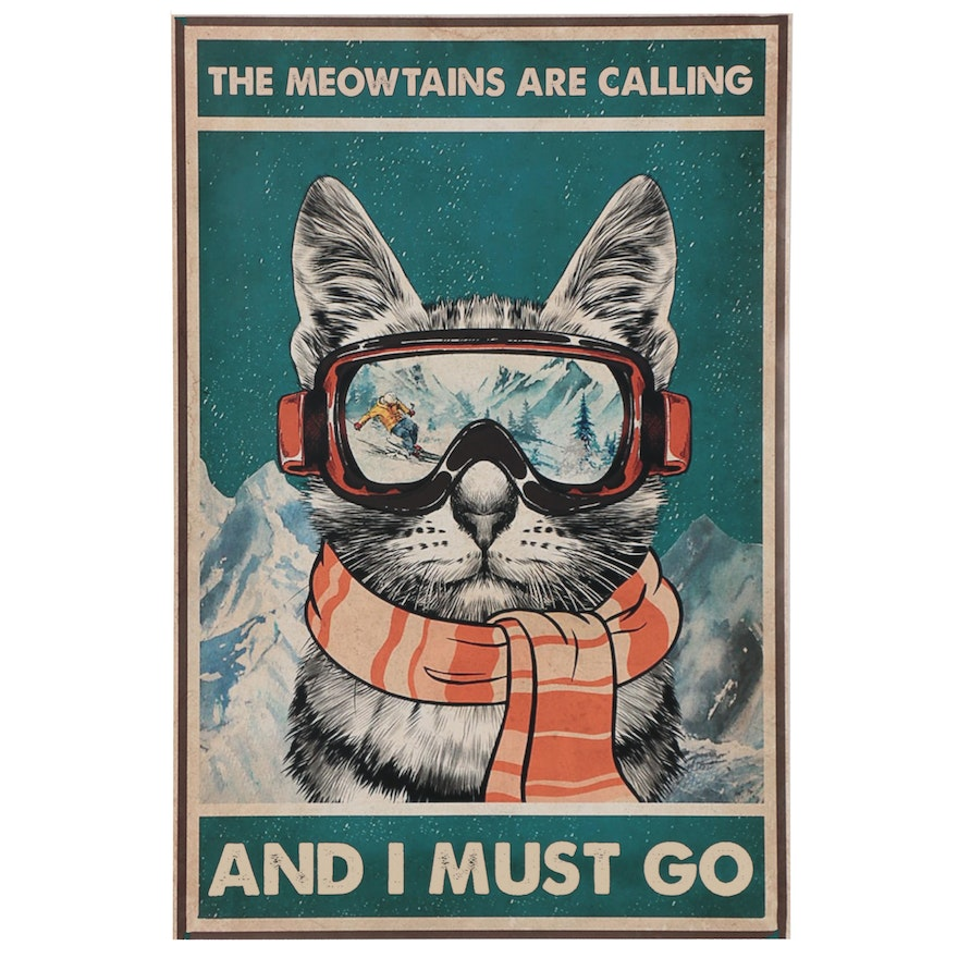 """Giclée of Skiing Cat """"The Meowtains Are Calling,"""" 21st Century"""