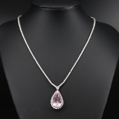 14K 12.40 CT Kunzite and 3.66 CTW Diamond Necklace
