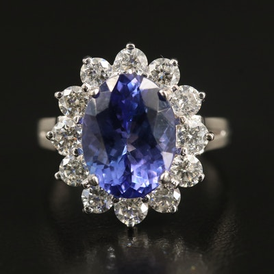18K 4.62 CT Tanzanite and 1.33 CTW Diamond Halo Ring