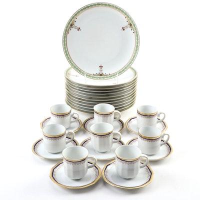 German Porcelain Reinhold Schlegelmilch Plates with Tirschenreuth Demitasse Cups